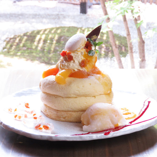 季節のスペシャルパンケーキ<br>前田家伝来 氷室のあんずパンケーキ<span>[1日限定20食 ]<span><br><span>Seasonal special pancakes<br>Himuro apricot pancake from the Kaga domain Maeda family<br> [Limited to 20 serves per day]</span><br>¥1,280
